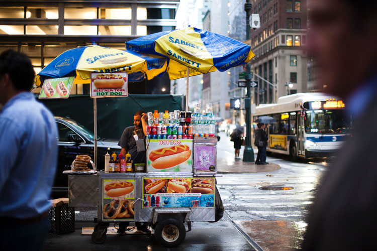 carrito de comidas en Nueva York