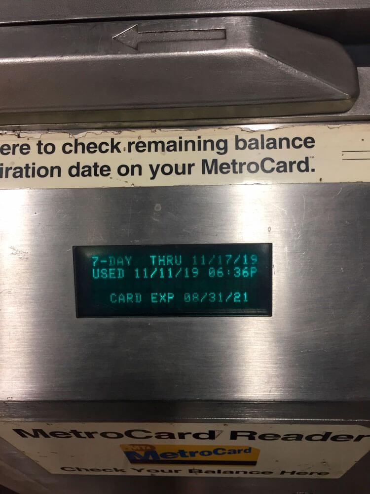 comprueba la validez de la metrocard de nueva york