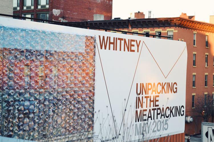 Cartel de Whitney Museum cuando se mudó a Metpacking District