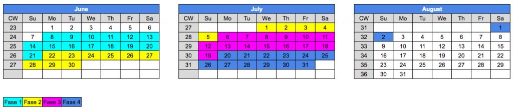 calendario desescalada de Nueva York